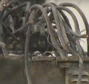 Twisted wreck of a transformer