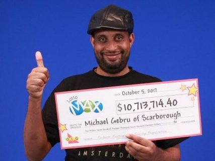 Michael Gebru won Lotto Max in 2017/Lotterey Corporation
