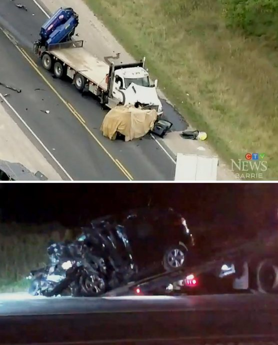 Heavy truck and SUV collision in Bradford/CTV captures