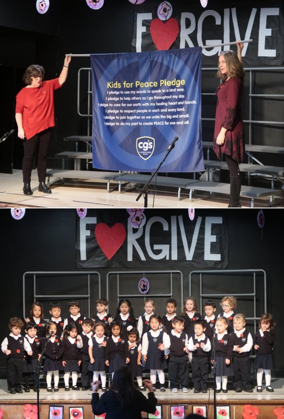 (Top picture) Principal Marie Bates and Director of Admissions Kelly Scott hold up forgiveness pledge. Lower picture: Early Start preschool class