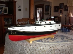 Anderson was given a model of his boat the D & S. The boat's initials stand for his sons' first names, Dan and Steve. —photo Katherine Keller