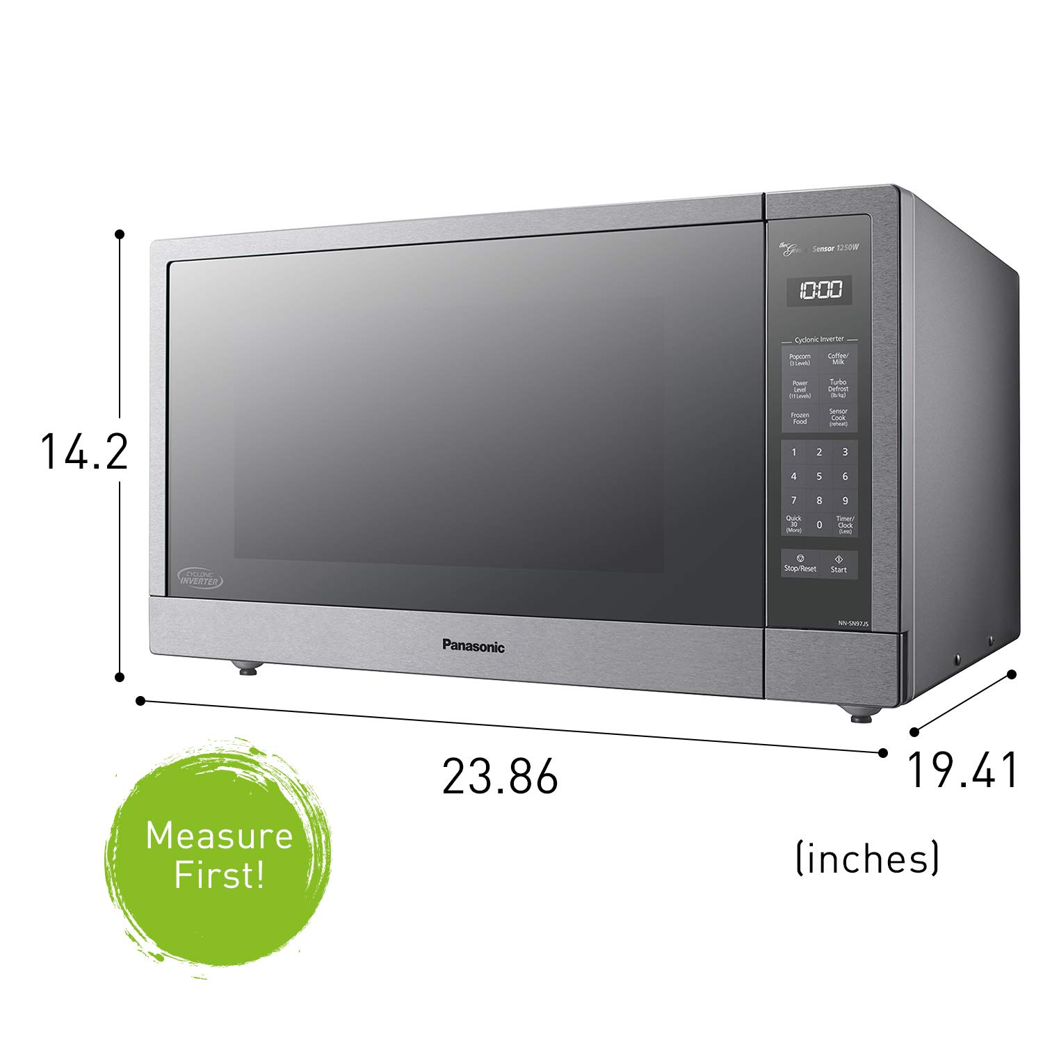 panasonic microwave oven stainless steel countertop built in cyclonic wave with inverter technology and genius sensor 2 2 cu ft 1250w nn sn97js