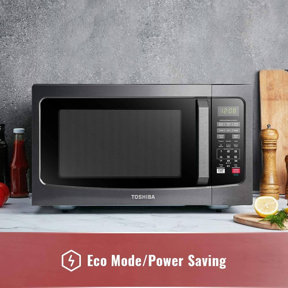 toshiba em131a5c bs microwave oven with smart sensor easy clean interior bazan grills