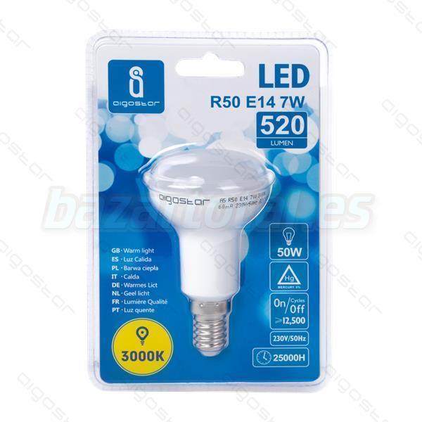 BOMBILLA LED A5 R50 E14 7W 520 LUMEN = 50W LUZ CALIDA 3000K