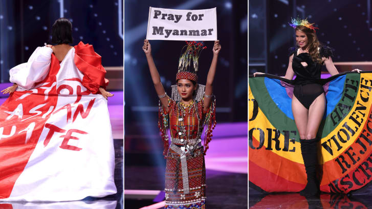 Left to right: Miss Universe Bernadette Belle Ong, Miss Universe Myanmar Ma Thuzar Wint Lwin, Miss Universe Uruguay Lola de los Santos during the National Costume fragment of Miss Universe 2021. Credit:Getty Images