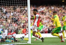 Pierre-Emerick Aubameyang applied the finishing touch for Arsenal's goalCredit: AFP