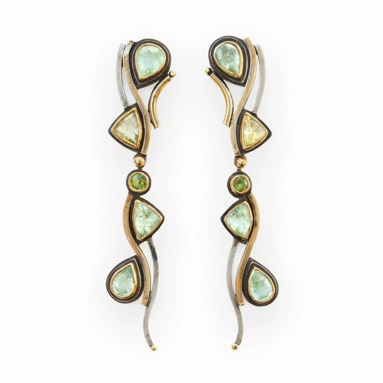 Earrings with Tourmalines and Diamonds