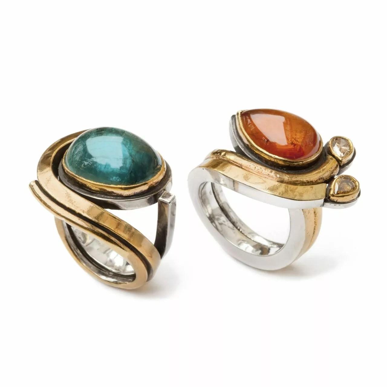 Rings with Tourmaline, Mandarin Garnet and Diamonds