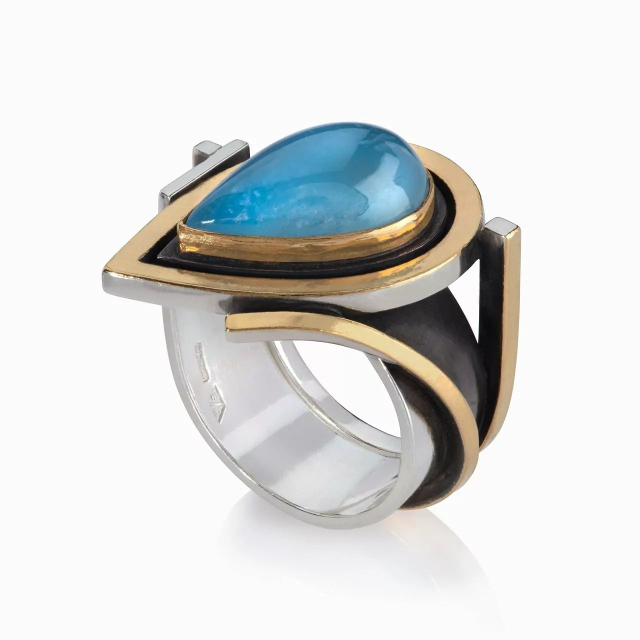 Ring with Pear Shaped Aquamarine