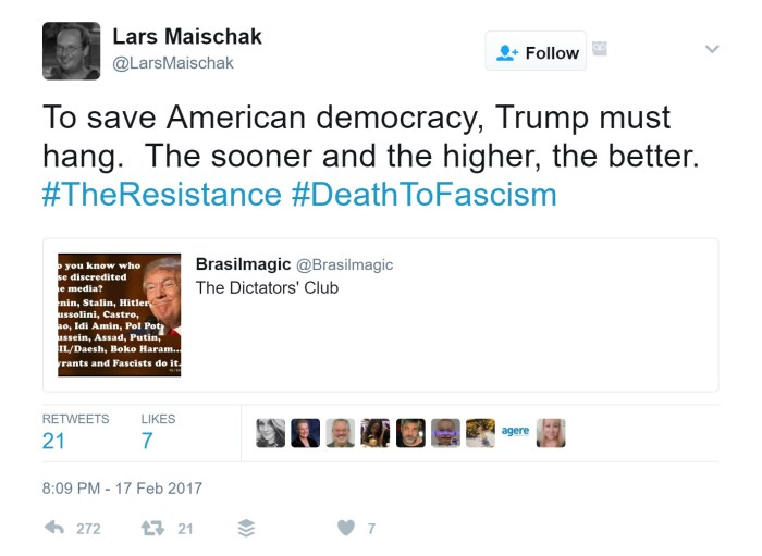 History Teacher: 'Trump Must Hang,' 2 Republicans Should Be Executed For Each Alien Deported