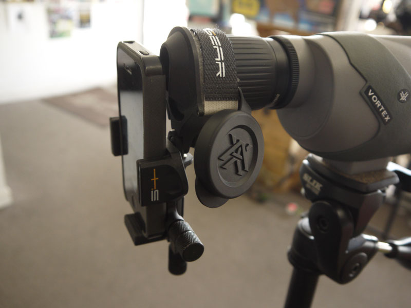 S4Gear's new Digiscoping Smartphone Mount has a micro adjustment screws for precise alignment with spotting scope.