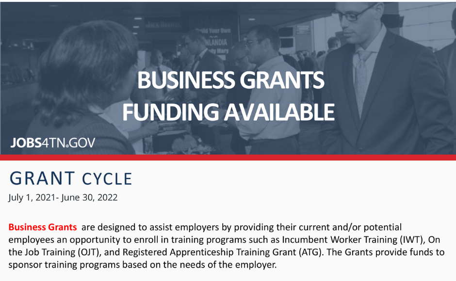 TN BUSINESS GRANTS FUNDING AVAILABLE