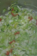Slowly simmer off the basics, the garlic, leeks chilly...