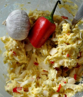 Making my own garlic and chilli butter... there's a few secret bits in there too!