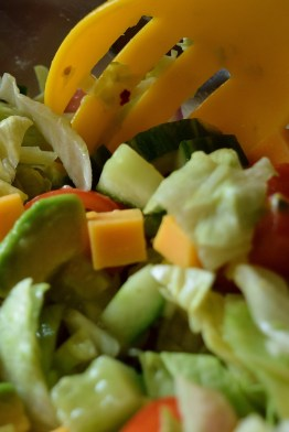 While I'm taking photos of flowers the good lady is making a simple salad... with avocado! and cheese ... for effect!