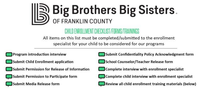 Child enrollment checklist
