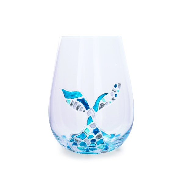 Gorgeous painted mermaid wine glass
