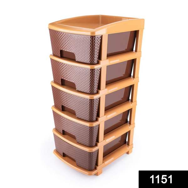 5tier Plastic Modular Drawer System For Multiple Use (Brown colour)