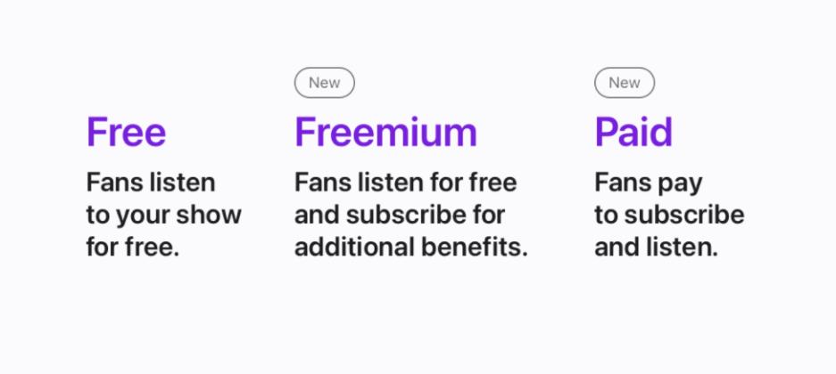 free, premium. apple podcast subscription