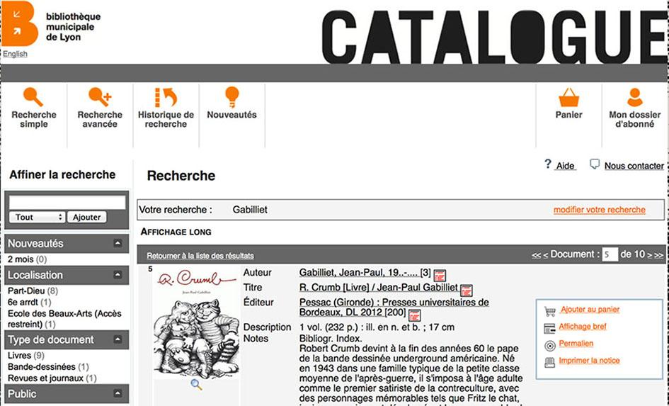 figure 6 capture d ecran du catalogue des bibliotheques municipales de lyon notice consacree a l ouvrage de jean paul gabilliet robert crumb presses universitaires de bordeaux 2012 recherche realisee le 12 janvier