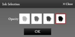 web書道・墨の濃さを選択