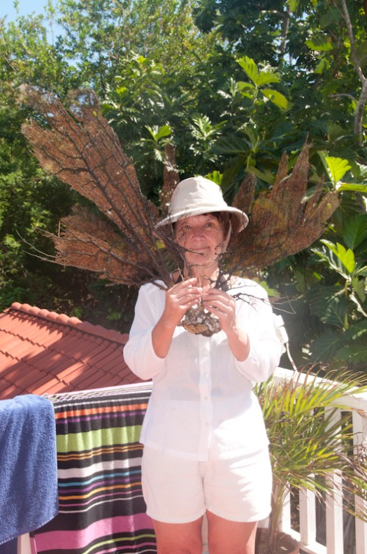 Carol displaying her found sea fan.