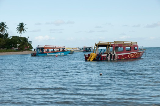 Tour boats at Pigeon Point, Tobago.