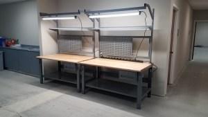 Tech bench, tek bench, LED lighting, Lab workbench, lab tech