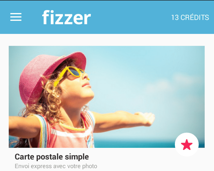 Fizzer application mobile pour cartes postales