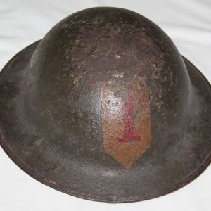 B007. WWI M1917 COMBAT HELMET W/ PAINTED 1ST INFANTRY DIVISION PATCH