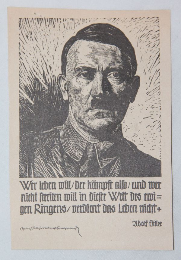 R002. SMALL WWII GERMAN PROPAGANDA LEAFLET OF ADOLF HITLER