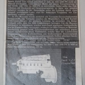 R003. RARE WWII GERMAN RESEARCH OF THE FORD V-12 AIRCRAFT ENGINE, 1942 DATED