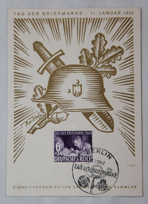 R012. WWII GERMAN REICHSPOST 1942 FIRST DAY COVER STAMP ON CARD