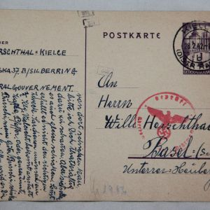 R015. WWII GERMAN POSTCARD FROM THE GENERALGOUVERNMENT IN KIELCE, POLAND
