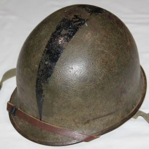 S004. NAMED KOREAN WAR RIGGER MODIFIED M1-C AIRBORNE PARATROOPER HELMET & LINER