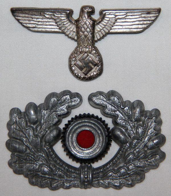 P006. EARLY WWII GERMAN ARMY EM/NCO VISOR CAP EAGLE & WREATH W/ COCKADE