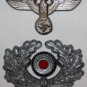 P006. EARLY WWII GERMAN ARMY EM/NCO VISOR CAP EAGLE & WREATH W/ COCKADE