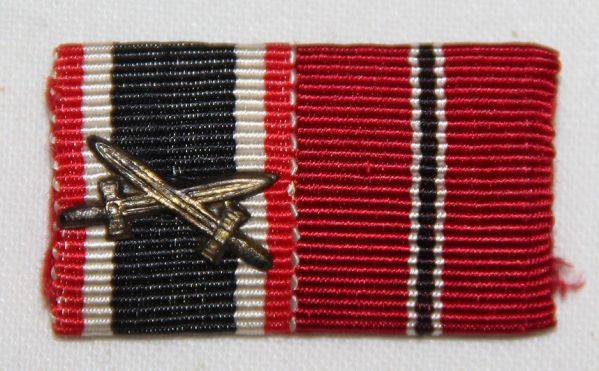 Q043. WWII GERMAN 2 PLACE RIBBON BAR KVK2 WITH SWORDS AND RUSSIAN FRONT