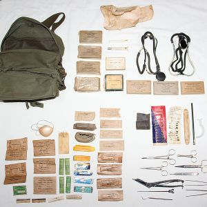 T214. EARLY VIETNAM M3 COMBAT MEDIC BAG WITH CONTENTS
