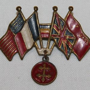 I091. WWII ALLIED FLAGS SWEETHEART PIN