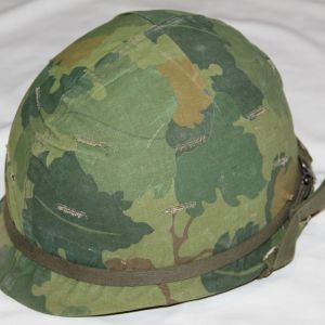 T006. VIETNAM M-1 HELMET WITH LINER & CAMO COVER