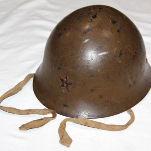 L007. WWII JAPANESE ARMY TYPE 90 COMBAT HELMET W/ LINER & CHINSTRAP