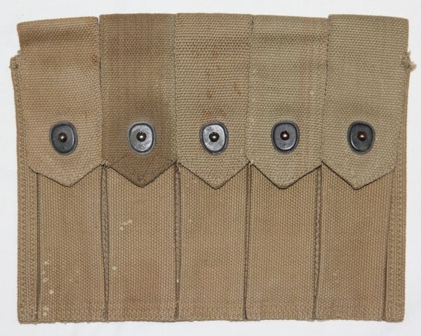 E021. WWII THOMPSON SMG 5 CELL AMMO, CLIP POUCH