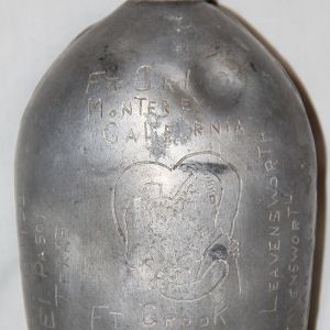 E031. ENGRAVED WWI 1918 CANTEEN FROM AAF LADD FIELD, ALASKA