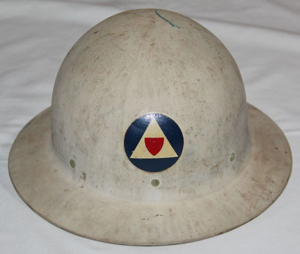 C014. WWII CIVIL DEFENSE HELMET WITH AUXILIARY POLICE DECAL