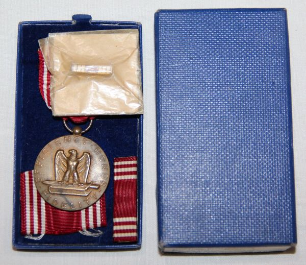 H033. WWII NAMED GOOD CONDUCT MEDAL SET IN THE 1944 DATED BOX