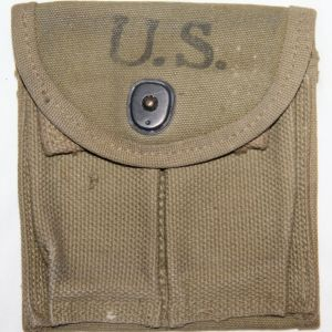 E044. WWII M1 CARBINE BUTTSTOCK AMMO CLIP POUCH, 1943 DATED