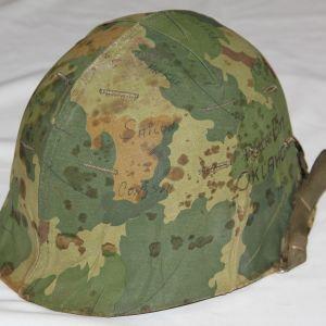 T034. ORIGINAL VIETNAM M1 HELMET SET WITH GRAFFITI
