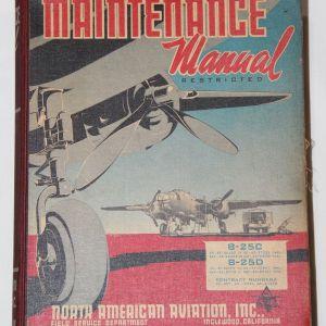 J020. HUGE WWII B-25 BOMBER MAINTENANCE MANUAL