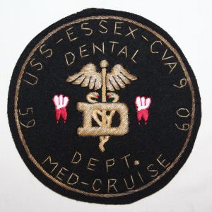 S021. LARGE 1959 USS ESSEX DENTAL DEPARTMENT THEATER MADE BULLION CRUISE PATCH